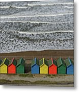 Waves And Beach Huts - Whitby Metal Print
