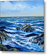 Waves And Foam Metal Print