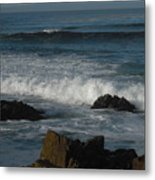 Waves And Rocks Metal Print by Sharon McKeegan