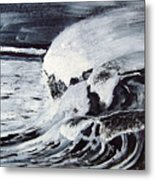 Waves At Night Metal Print