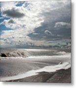 Waves Breaking Against The Beach And Cloud Streaming Above  Skegness Lincolnshire England Metal Print