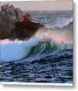 Waves Crash Against The Rocks Metal Print