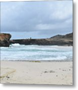 Waves Crashing Ashore With Large Rock Formations Metal Print