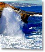 Waves Crashing On The Rocks Metal Print