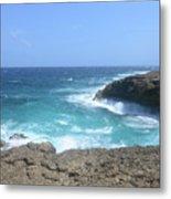 Waves Crashing On To The Lava Rock At Daimari Beach Metal Print