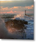 Waves Crashing Over The Jetty Metal Print