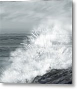 Waves Crashing The Rocks In Ireland Metal Print