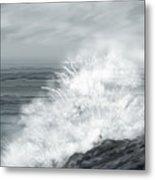 Waves Crashing The Rocks In Ireland Metal Print