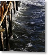 Waves Hitting Santa Monica Pier Metal Print