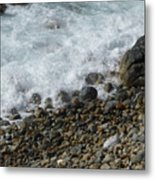 Waves Meet Pebbles Metal Print
