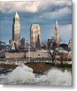 Waves On Cleveland Metal Print