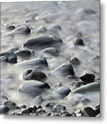Waves On Cobble-panoramic Metal Print
