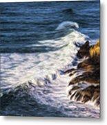 Waves Rocks And Birds Metal Print