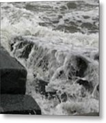 Waves Splashing Stones 2 Metal Print