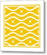 Waves With Border In Mustard Metal Print