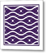 Waves With Border In Purple Metal Print