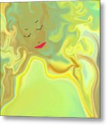 Wavy Hair And Red Lips Metal Print