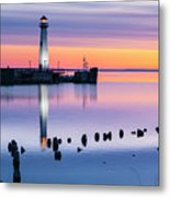 Wawatam Lighthouse In Colorful Predawn Light Metal Print