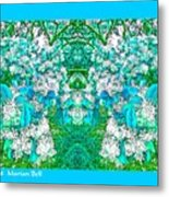 Waxleaf Privet Blooms In Aqua Hue Abstract With Aqua Frame Metal Print