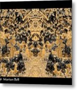 Waxleaf Privet Blooms In Black And White - Color Invert With Golden Tones Abstract Metal Print