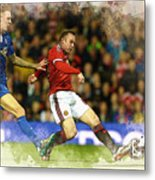 Wayne Rooney Of Manchester United Scores Metal Print