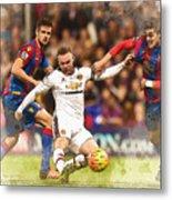 Wayne Rooney Shoots At Goal Metal Print
