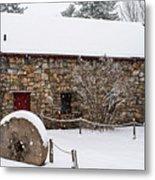 Wayside Inn Grist Mill Covered In Snow Millstone Metal Print