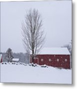 Wayside Inn Grist Mill Covered In Snow Storm 2 Metal Print