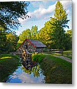 Wayside Inn Grist Mill Reflection Metal Print