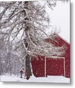 Wayside Inn Red Barn Covered In Snow Storm Reflection Metal Print