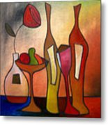 We Can Share - Abstract Wine Art By Fidostudio Metal Print