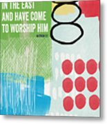 We Come To Worship- Contemporary Christmas Card By Linda Woods Metal Print