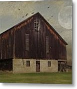 Weathered Barn And Birds Metal Print by Stephanie Calhoun