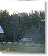 Weathered Barn And Hay Bales  Metal Print