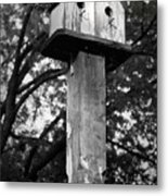 Weathered Bird House Metal Print