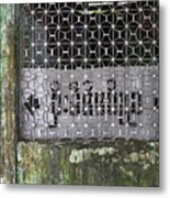 Weathered Green Concrete Doorway With Grille And Obscured Sign P Metal Print