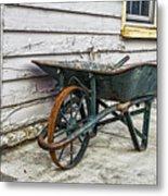 Weathered Green Wheelbarrow Metal Print