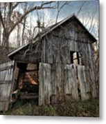 Weathered Old Abandoned Barn Metal Print
