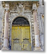Weathered Old Artistic Door On A Building In Palermo Sicily Metal Print