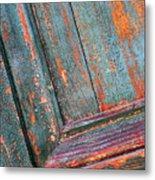 Weathered Orange And Turquoise Door Metal Print
