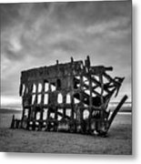 Weathered Rusting Shipwreck In Black And White Metal Print