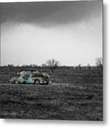 Weathered - Old Car In Texas Field Metal Print