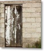 Weathered White Wood Door Metal Print