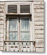 Weathered Window Balcony Metal Print