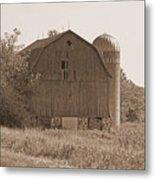 Weathered Wisconsin Barn In Sepia Metal Print