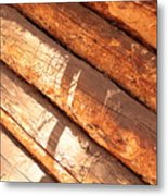 Weathered Wood Log Cabin Metal Print
