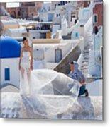 Wedding At Santorini Metal Print