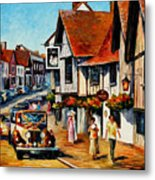 Wedding Day In Lavenham-suffolk-england - Palette Knife Oil Painting On Canvas By Leonid Afremov Metal Print
