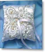 Wedding Ring Pillow. Ameynra Beadwork Metal Print