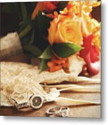 Wedding Ring With Bouquet On Velvet  Metal Print by Sandra Cunningham